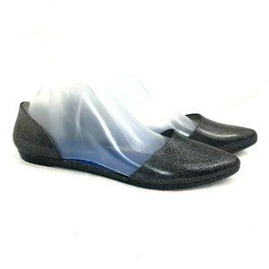 Jeffrey Campbell Shoes - Jeffrey Campbell D'Orsay Black Glitter Jelly Flats
